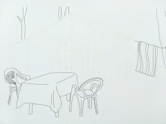 Mesa, sillas, toalla. De la serie Casas y Casillas, 2008.