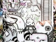 Dibujo sobre  vidrio promocionando el urban Art