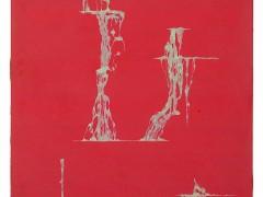 Cascada sobre rojo