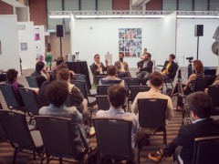 """Roundtable """"Is Mexico City a New Berlin?"""" featuring Sophie Goltz, Chris Sharp, and Pedro Reyes, moderated by Polina Stroganova."""