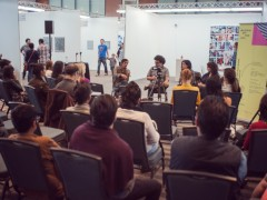 "Roundtable ""What is a Latin American Artist Today?"" featuring Arturo Hernández Alcázar, Nataila Valencia, and Pia Camil, moderated by Daniel Montero."