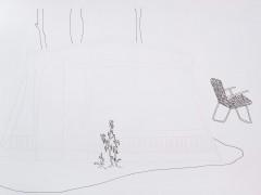 Planta, cable, reposera y árboles. De la serie Casas y Casillas, 2008.