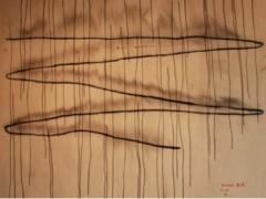 Escala 1:1 acto ritual con un if, dibujos en carbón y cuerda, video 5 minutos,  2007